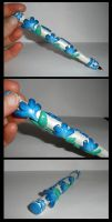 Blue Flower Pen by Brisbykins