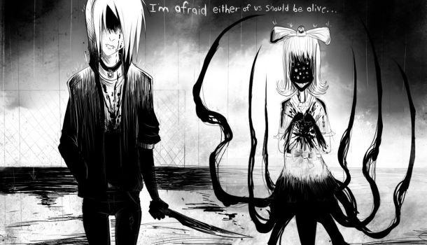 I'm afraid either of us should be alive.. by Corpse-boy