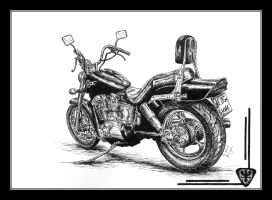 Honda Shadow - pen and ink by czajka