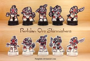 Redclan Orc Skirmishers 28mm Paper Miniatures by Pasiphilo