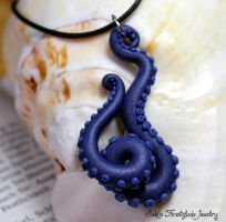 tentacle necklace deap blue sea by Sakiyo-chan
