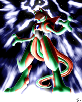 Deoxys infects Mewtwo. by Esepibe