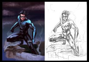 NIGHTWING-Pencils and Colors by JeanSinclairArts