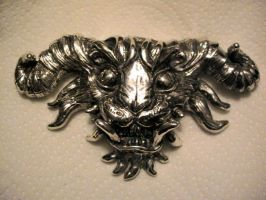 silver demon pendant by missmonster