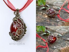 Red egg steampunk pendant II by ukapala