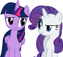 Twilight and Rarity Vector by CyanLightning