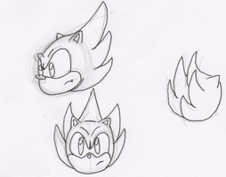 Super Sonic sketches:line arts by Piplup88908