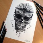 Skull Pencil Drawing by AtomiccircuS