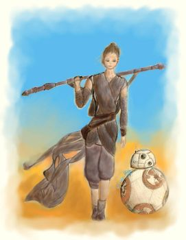 Rey and BB-8 by eliazeravenfeather
