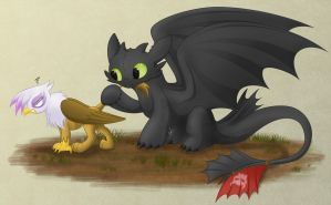 Commission: Gilda and Toothless by ShilaDaLioness