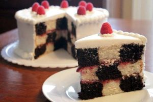 Black and White Checkerboard Cake with Raspberries by Adonenniel