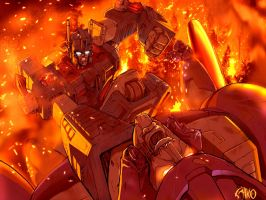 Ultramagnus vs Galvatron by EspenG
