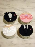 Bridal Party Cupcakes by Sliceofcake