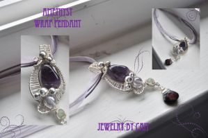 Amethyst Silver Wrap Pendant by tanyquil