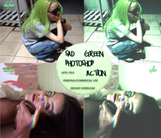 Sad Green Photoshop Action Resources Premium by thinminmeg