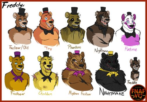 FNAFNG_Freddy Versions by NamyGaga