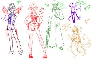 Multicolored sketch dump by Kevichan