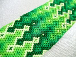 Shades of Green Friendship Bracelet Cuff by QuietMischief