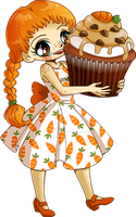 Carrot Cupcake Girl Commission by YamPuff