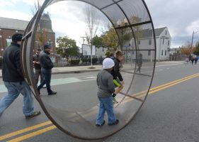 The Human Hamster Wheel Rolling Down the Street 6 by Miss-Tbones