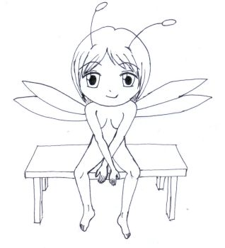 Sitting Fairy sketch by frolka