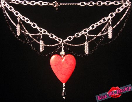 Kiss Me Deadly- Chain, tassel, crystal and heart by SoulboundDesigns