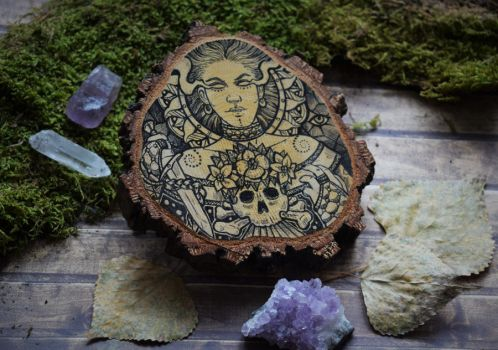 Wood slice priestess by ZawArt