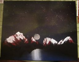 Northern Lights over Mountains by Cypher-Black