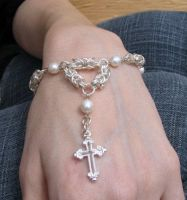 Silver Pearls Rosary Bracelet by Night-Maiden