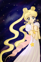 Princess Serenity at nightfall by MarieZombie