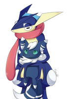 Greninja Holds Meowstic by snuddi