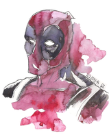 Deadpool watercolor by as-obu