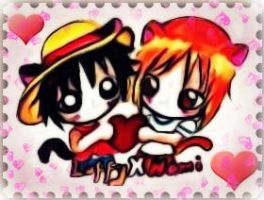 Chibi Luffy x Nami by TaSaMaBi