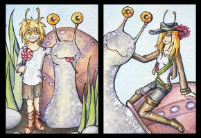 ATCs: Snail Riders by Athalour