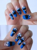Cookie Monster Nails by AyaChinatsu