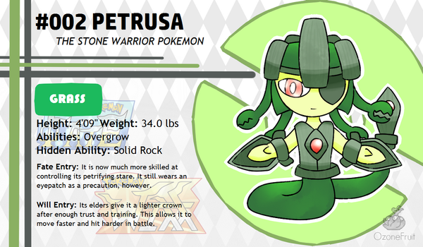 Pokemon Fate and Will Dex #002: Petrusa by OzoneFruit