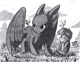 Hiccup and his dragon by BlueLink