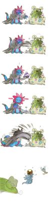 Hydreigon and Garbodor and Nugget by memoneo