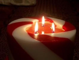 Heart Shape. Candy Cane Candle by KristineAdelia