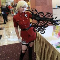 Seras with blood arm by Seras-Loves-Master