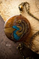 turquoise feather (stone painting) by SBreez