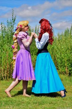 Ariel Cosplay Blue dress with Rapunzel by JulysFactory