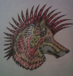 Wolf in pattern by FaultlineX