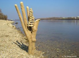 Driftwood hand and stone pagoda by tamas kanya by tom-tom1969