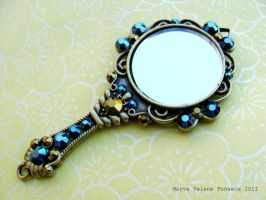 Blue Swarovski Mirror Pendant by marva78