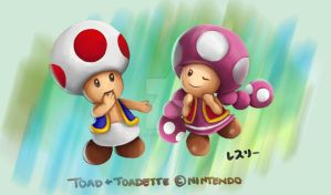 Toad and Toadette - Rainbow by Resuri-chan