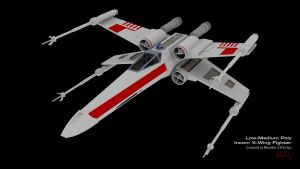 X-Wing Fighter Low Poly Blender 3D Model by PixelOz