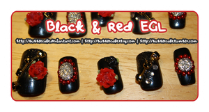 Black x Red EGL Nails by BubbleCafe