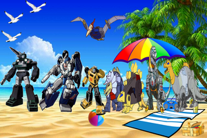 Fun in the summer with the Autobots by darthraner83