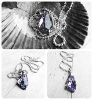 Swarovski Vitrail Light Galactic Vertical Necklace by crystaland